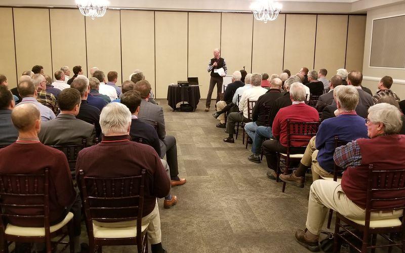 Steve Rose Master of Ceremonies addressing 100 Men Who Give a Damn